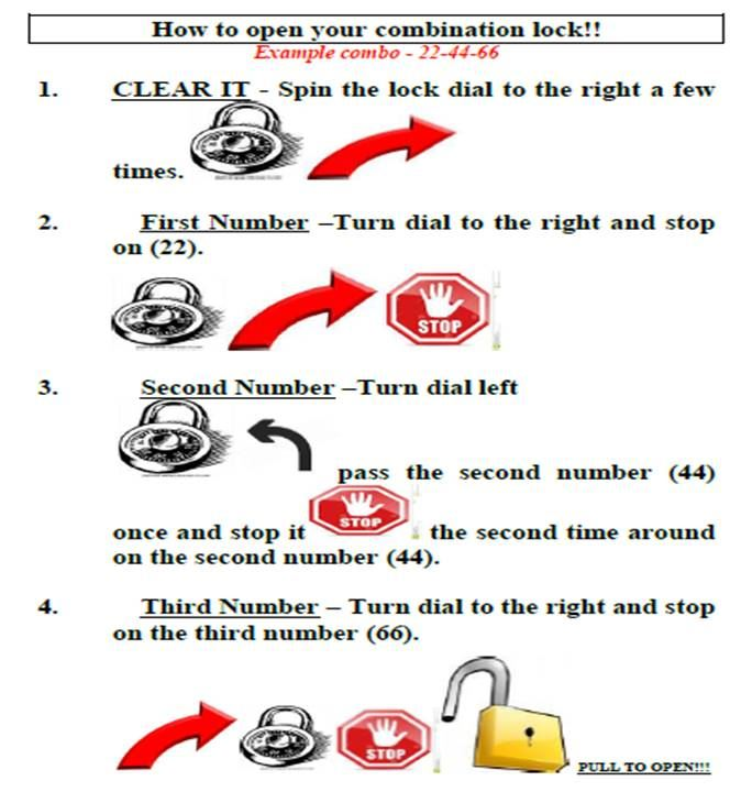 Directions on How to Open Your Lock