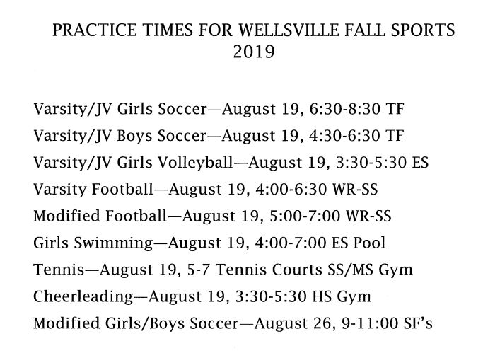 Fall Sports Practices Start August 19th